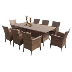 Outdoor TK Classics Laguna Wicker 9 Piece Rectangular Patio Dining Set with 16 Cushion Covers Cocoa / Wheat - LAGUNA-RECTANGLE-KIT-8-COCOA