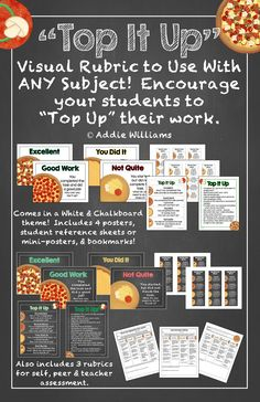 """Visual Success Rubric - use this pizza-themed rubric to encourage students to """"top up"""" their work.   Can be used with ANY subject and many grades! ($)"""