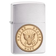 Zippo Lighter: United States Navy Emblem - Brushed Chrome 29257