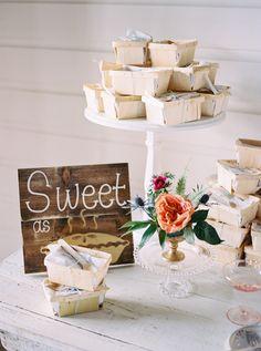 Wedding Dessert Table - An Intimate Wedding Full of Rustic Vintage Elegance Edible Wedding Favors, Wedding Desserts, Wedding Reception, Rustic Wedding, Reception Ideas, Wedding Bells, Metallic Wedding Cakes, Chic Vintage Brides, Vintage Style