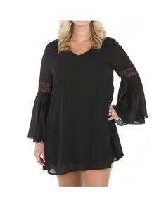 Women's Plus-Size V-Neck Bell Sleeve Dress - Black