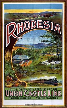 Union Castle Line to Rhodesia poster, 1908 Date: 1908