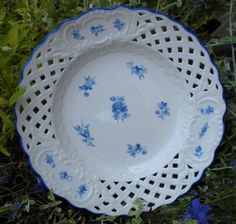 Antique Reticulated Plate Cobalt Blue Floral by 4HollyLaneAntiques, $110.00