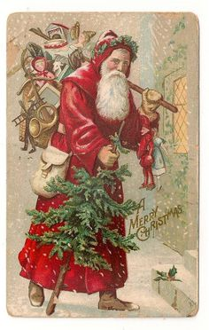 Santa Father Christmas Postcard Red Robe Tree Dolls Toys to Deliver Christmas History, Noel Christmas, Father Christmas, Christmas Images, Christmas Stuff, Christmas Ideas, Victorian Christmas, Vintage Christmas Cards, Christmas Greeting Cards