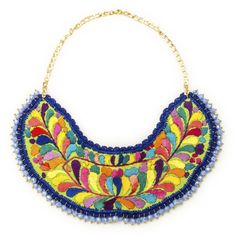 JJ Caprices - Embroidered Bib Necklace with Beads #jewelry #jjcaprices #followyourcaprice