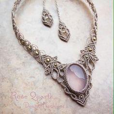 http://www.stonesspirit.com/?pid=83583876/ #jewelry #necklace #stone #rose quartz #macrame