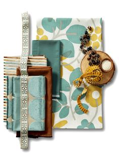 Teal and Gold Fabric Collection Moodboard Interior, Calico Corners, Teal And Gold, Teal Yellow, Orange Brown, Mustard Yellow, Fabric Board, Gold Fabric, Textiles