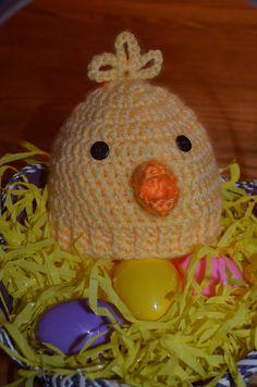 Newborn Peep/Chick Hat pattern by Mary Hodges ~ free pattern Crochet Sock Monkeys, Crochet Kids Hats, Easter Crochet, Cute Crochet, Crochet Baby Cocoon Pattern, Newborn Crochet, Crochet Patterns, Crochet Ideas, Crochet Projects