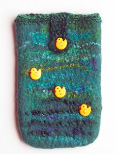 Handmade Felted  Mobile Phone case decorated by MagicWoolStudio