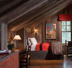 Great rustic bedroom for a boy - Carney Logan Burke Architects Log Home Decorating, Cozy Place, Interior Design Studio, Architect Design, The Ranch, Home Decor Furniture, Log Homes, Feng Shui, Bedroom Decor