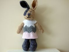 Hand Knitted Rabbit, Knitted Easter Bunny, Knitted Animal, Knit Bunny Rabbit, Stuffed Rabbit, Stuffed Animal, Woodland Rabbit Wearing Dress by TabbyCatCraftsShop on Etsy