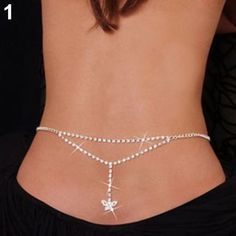SEXY SILVER RHINESTONE BELLY SLIM WAIST CHAIN LOWER BACK FOR BIKINI Item specifics Condition: New without tags Main Color: Silver ...