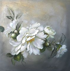 Camellias by Birgit Porter. white. The petal effect is really good with this painting. Possibly of Camellia sasanqua