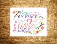 John 14:27 - Scripture Art - Peace Verse - Customizable - INSTANT DOWNLOAD