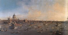 The Thames and the City, Canaletto, 1847 in the National Gallery, Prague.