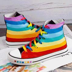 Colorful Striped Rainbow Canvas Shoes SE20386 – SANRENSE Painted Canvas Shoes, Painted Sneakers, Hand Painted Shoes, Rainbow Shoes, Rainbow Outfit, Rainbow Converse, Rainbow Clothes, Jouer Au Basket, Pride Shoes