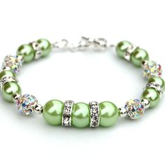 Apple Green Pearl Rhinestone Bracelet, Bling Bridesmaid Jewelry, Summer Accessory. $24.00, via Etsy.