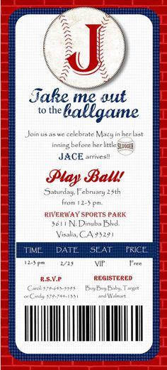 Baseball Ticket Baby Shower Invitations Template Baseball Baby - Baseball baby shower invitation templates