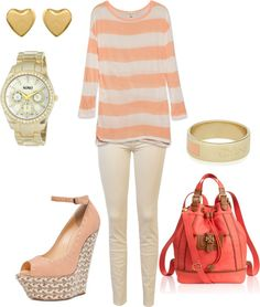 """Peach Gold"" by kellyrh414 on Polyvore  clothes, peach, fashion, cute, outfit, summery, casual"