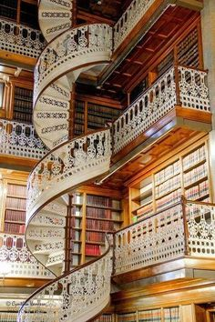 A spiral staircase at a library in Florence, Italy