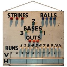 Handmade Electric Baseball Scoreboard | 1stdibs.com #1DHoliday Baseball Scoreboard, Braves Baseball, Baseball Hats, The Sporting Life, Damn Yankees, Vintage Games, Signage, Board Games, Antiques