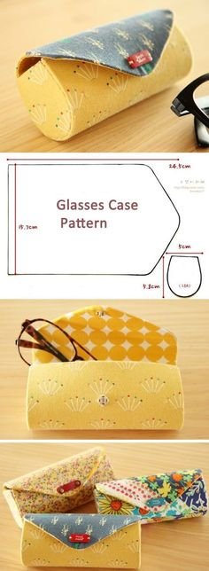 Cute Case for glasses cylinder. Photo and Pattern http://www.free-tutorial.net/2016/12/case-for-glasses-pattern.html