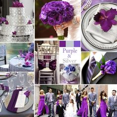 "Purple and Silver Wedding Colors - Aaah, purple with silver … sophisticated and ""rich"", this combination works for any season and makes a big impression!"