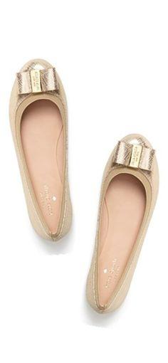 gold bow flats. i'm in love! #katespade