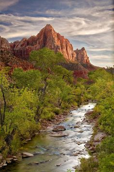 The Watchman and the Virgin River, Zion National Park, Utah.