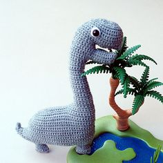 This pattern is available for free.The dinosaur shown on the picture measures approximately 18 by 22 centimeters (7.1 by 8.7 inch).