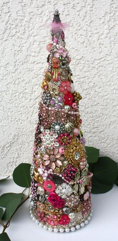 Christmas Tree Jeweled Pink Breast Cancer by baublesandbrides