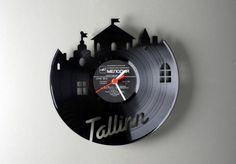 Relógio de Parede feito de Disco de Vinil
