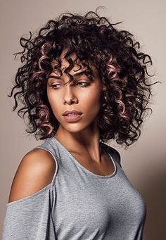 Short to Mid Length Hair with Curly Bangs Curly Hair With Bangs, Curly Hair Cuts, Short Curly Hair, Short Hair Cuts, Curly Hair Styles, Natural Hair Styles, Hair Bangs, Medium Curly, 3c Hair