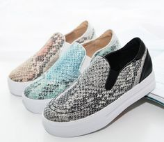 Shiny Women Leisure Snake Skin Loafers Girls Flat Heel Athletic Sport Shoes 2017