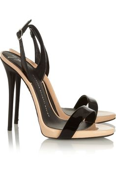 Giuseppe Zanotti 'Coline' Two-Tone Patent-Leather Sandals $675 Spring 2014 #Shoes #Heels