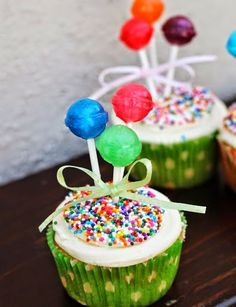Make It:   Martha Stewart blows up balloons just little and ties them to craft sticks to decorate a birthday cake for a cute balloon theme...