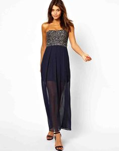 Long navy bridesmaid dress with sequins TFNC at ASOS Hi Low Bridesmaid Dresses, Affordable Bridesmaid Dresses, Wedding Dresses, Navy Bridesmaids, Bridesmaid Ideas, Lace Dress, Dress Up, Girls Dresses, Flower Girl Dresses