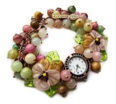 "Купить ""Октябрь"" часы с бусинами лэмпворк - часы, часы наручные, наручные часы, женские часы"