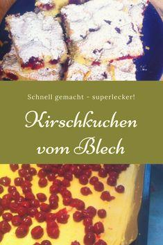 Kirschkuchen vom Blech – supersaftig und schnell zu backen. Ein einfacher Blechkuchen, der auch Kindern schmeckt.