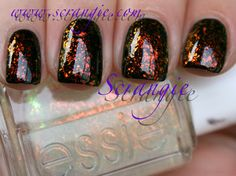 """Hunger Games Katniss nails? Looks like fire without being too """"monster truck rally"""" flames, right? Essie Luxe Effects over black"""
