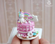 Etsy :: Your place to buy and sell all things handmade Polymer Clay Cake, Polymer Clay Animals, Polymer Clay Charms, Diy Doll Miniatures, Polymer Clay Miniatures, Miniature Crafts, Miniature Food, Diy Clay, Clay Crafts