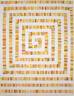 Yellow Brick Road Quilt Pattern, Modern Quilt Pattern, String Quilt, Scrap Quilt, Spiral Quilt, pdf, qtm, immediate download