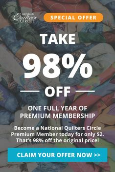 You've been specially invited to join the National Quilters Circle at 98% off the regular price. (normally $69) Join today and you'll get a whole year of our best Premium instructional videos, helpful tips & amazing projects for only $2! Quilting Tips, Quilting Projects, Easy Quilts, Yorkies, Youre Invited, Helpful Tips, How To Become, Join, Invitations