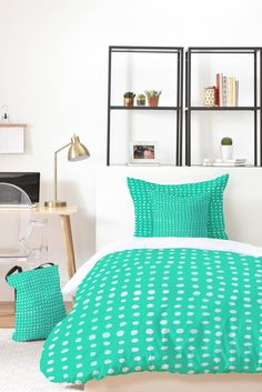 Leah Flores Turquoise Scribble Dots Bed In A Bag   DENY Designs Home Accessories
