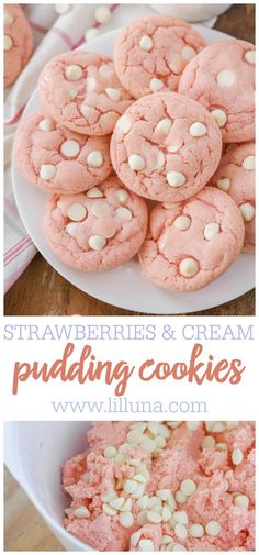 Delicious Strawberries and Cream pudding cookies that are easy and so flavorful! Jello is the perfect addition to this cookie along with white chocolate chips. Everyone loves this cookie! #strawberrycookies #puddingcookies #strawberriesandcream #strawberry #cookies Chocolate Pudding Cookies, White Chocolate Chip Cookies, Cookies With Pudding, White Chocolate Recipes, Pecan Cookies, Coconut Cookies, Brownie Cookies, Coconut Sugar, Strawberry Cookie Recipe