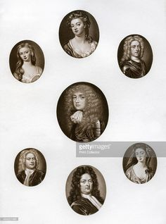 Group of portraits, late 17th - early 18th century (1906). Top: Sarah Jennings, Duchess of Marlborough; top left: Lady Katherine Hyde, Duchess of Queensberry; top right: John, Duke of Montagu, enamel by C F Zincke; centre: John Churchill, Duke of Marlborough; bottom left: Sir Robert Walpole.