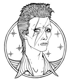 david bowie illustration by austin based artist carlos gonzalez of mindcanvis publishing colouring sheetscolouring pagescoloringmusician