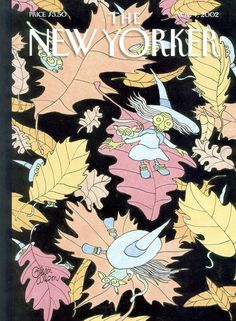"""The New Yorker - Monday, November 4, 2002 - Issue # 4004 - Vol. 78 - N° 33 - Cover """"Flying Leaves"""" by Gahan Wilson"""