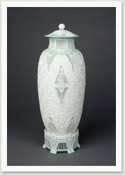 Scarab Vase, 1911                Adelaide Alsop Robineau    Porcelain, 16 5/8 x 6 in. diameter.                   Collection Everson Museum of Art