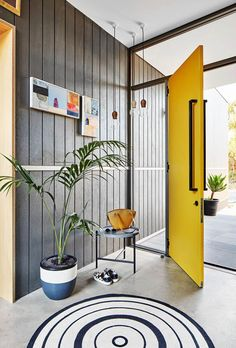 We will be looking into exterior door design ideas, after all, they're the welcoming point to your home. Get going and check the exterior door design that. Home, Yellow Interior, Yellow Home Decor, House Design, Entrance Design, House Entrance, Home Door Design, Yellow Front Doors, Grey Home Decor